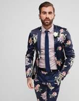 Asos Wedding Super Skinny Suit Jacket With Navy Floral Print