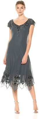 J Kara Women's Flutter Sleeve Hanky Hem Short Cocktail Beaded Dress Special Occasion