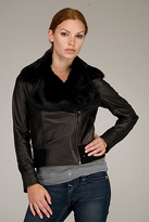 Valentino Red Black Leather Jacket With Fur Collar