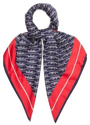 Valentino Signature Logo-print Silk-twill Scarf - Navy