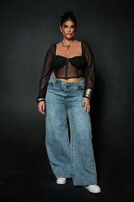 boohoo Plus Vintage Wash Wide Leg Jean