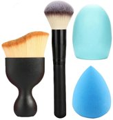 Addfavor 4pcs/set Makeup Set Kit Foundation Oval Brush Makeup Sponge Blender Blush Powder Make up Brushes Contour Brush Cleaner Egg Tools
