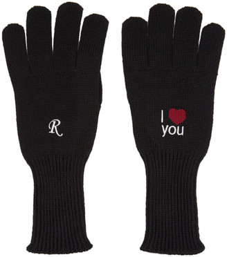 Raf Simons Black I Love You Gloves
