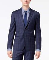 DKNY Men's Modern-Fit Stretch Blue Plaid Suit Jacket