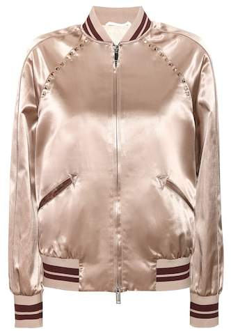 Valentino Rockstud Untitled satin varsity jacket