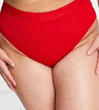 Wolf & Whistle Curve Exclusive rib high waist bikini bottom in red