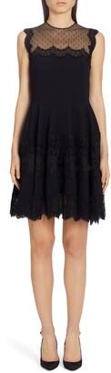 Dolce & Gabbana Swiss Dot & Lace Trim Cady Dress