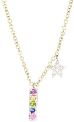 Meira T 14K Two-Tone Gold & Gemstone Rainbow Bar Pendant Necklace