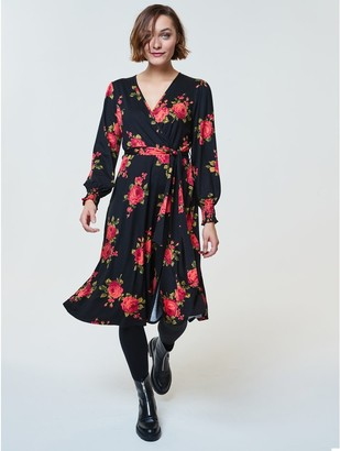 M&Co Rose print wrap midi dress