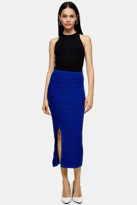 Topshop Womens **Cobalt Blue Ribbed Knit Midi Skirt By Cobalt