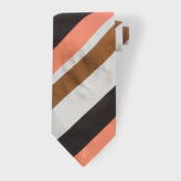 Paul Smith Men's Grey, Burnt Orange And Black Diagonal Striped Silk Tie