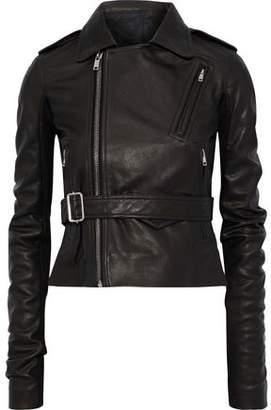Rick Owens Stooges Belted Ribbed Knit-paneled Textured-leather Biker Jacket