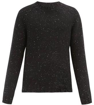 Maison Margiela Distressed Speckled Wool-blend Sweater - Black