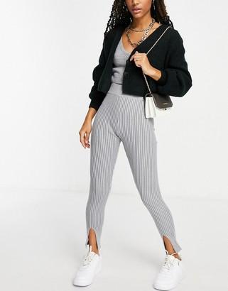 Missguided front slit leggings in gray