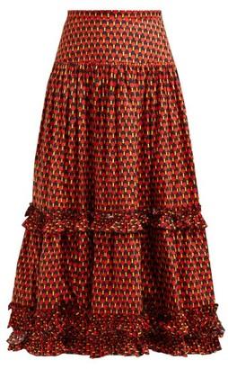 La DoubleJ Salsa Geometric-print Tiered Cotton Midi Skirt - Womens - Red Print