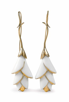 Lladro Heliconia Long Earrings. Porcelain Jewelry.