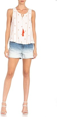 Miss Me Embroidered Tank with Tassel Ties (Off-White) Women's Clothing