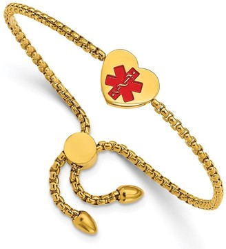 Chisel Stainless Steel Polished Yellow IP-plated and Red Enamel Heart Medical ID Adjustable Bracelet