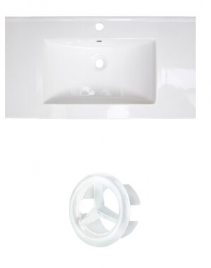 "American Imaginations Flair Ceramic 37"" Single Bathroom Vanity Top Faucet Mount: Single Hole"