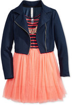 Beautees 2-Pc. Denim Moto Jacket & Babydoll Dress Set, Big Girls (7-16)