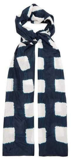 eskandar Square Shibori Dyed Silk Scarf - Womens - Indigo