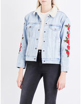 Levi's Ladies Floral Traditional Ex-Boyfriend Floral-Embroidered Denim Sherpa Trucker Jacket