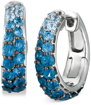 LeVian Le Vian Ombre Sapphire (2-1/10 ct. t.w.) & White Sapphire (1/4 ct. t.w.) Small Hoop Earrings in 14k White Gold, 0.7""