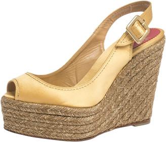Christian Louboutin Gold Satin Menorca Espadrille Wedge Sandals Size 38