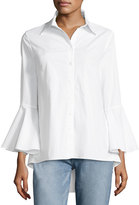 Neiman Marcus Bell-Sleeve Poplin Button-Front Tunic, White