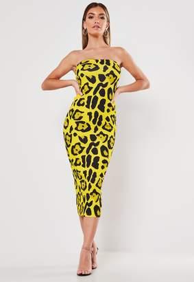 Missguided Yellow Leopard Print Bandeau Midaxi Dress
