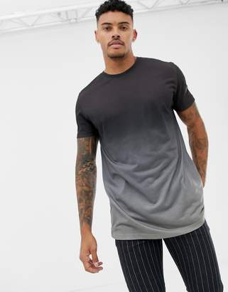 Asos Design DESIGN relaxed longline t-shirt in subtle dip dye in grey-Green