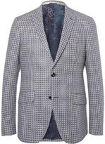 Etro Blue Checked Silk-Jacquard Blazer
