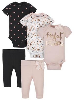 Gerber Baby Girl Organic Onesies Bodysuits and Pants Bundle, 5-Piece