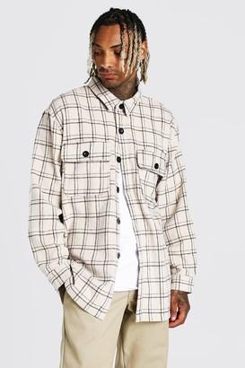 boohoo Mens Cream Long Sleeve Heavy Weight Check Overshirt, Cream