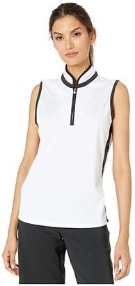 Tribal Mandarin Collar Sleeveless Top (White) Women's Clothing