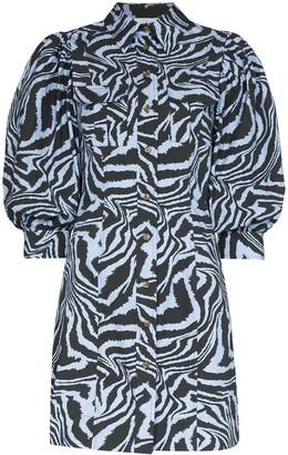 Ganni printed puff sleeve mini dress