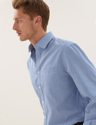 Marks and Spencer Regular Fit Checked Non-Iron Shirt