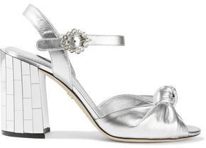 Dolce & Gabbana Embellished Knotted Metallic Leather Sandals
