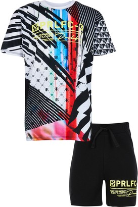 River Island Boys Black gamer t-shirt outfit