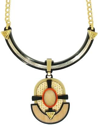 Gissa Bicalho Acrylic Necklace Short Ita With Straw Black
