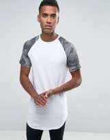 Jack and Jones Longline T-shirt with Camo Raglan Sleeves and Curved Hem