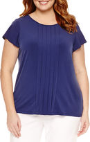 Liz Claiborne Short Sleeve Crew Neck Knit Blouse-Plus