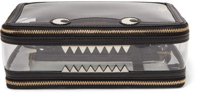 Anya Hindmarch Monster Inflight Leather-trimmed Perspex Cosmetics Case - Black