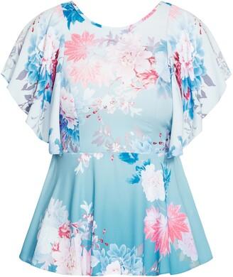 City Chic Tsubaki Floral Flutter Sleeve Blouse
