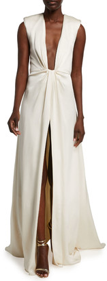 Monique Lhuillier Crepe Plunging V-Neck Gown