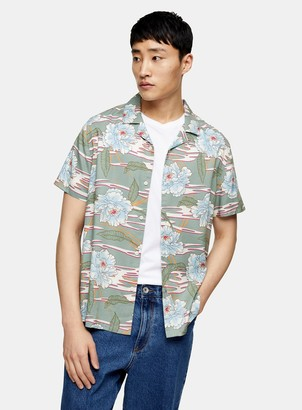 Topman Jade Green Hawaiian Revere Shirt