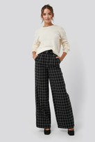 NA-KD Big Check Wide Leg Pants Black