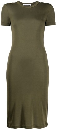 Helmut Lang Ribbed Silk Bodycon Dress