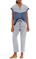 Cabernet Striped Sateen Cropped Pajamas