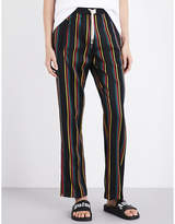 Palm Angels Ladies Black&Yellow&Red Striped Relaxed-Fit Mid-Rise Wool And Cotton-Blend Jogging Bottoms
